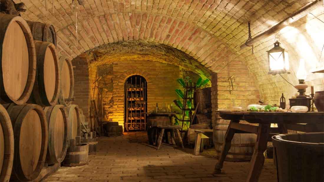 vintage-style wine cellar